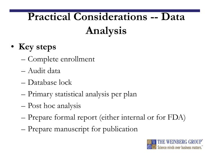 Practical Considerations -- Data Analysis