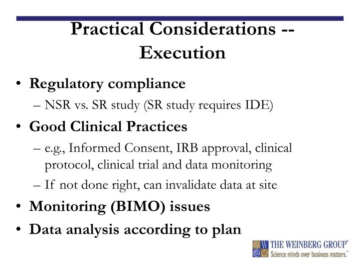 Practical Considerations -- Execution