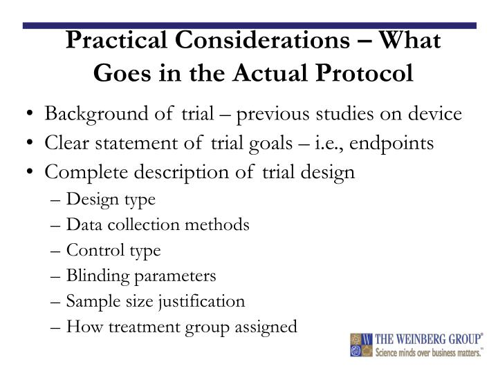 Practical Considerations – What Goes in the Actual Protocol