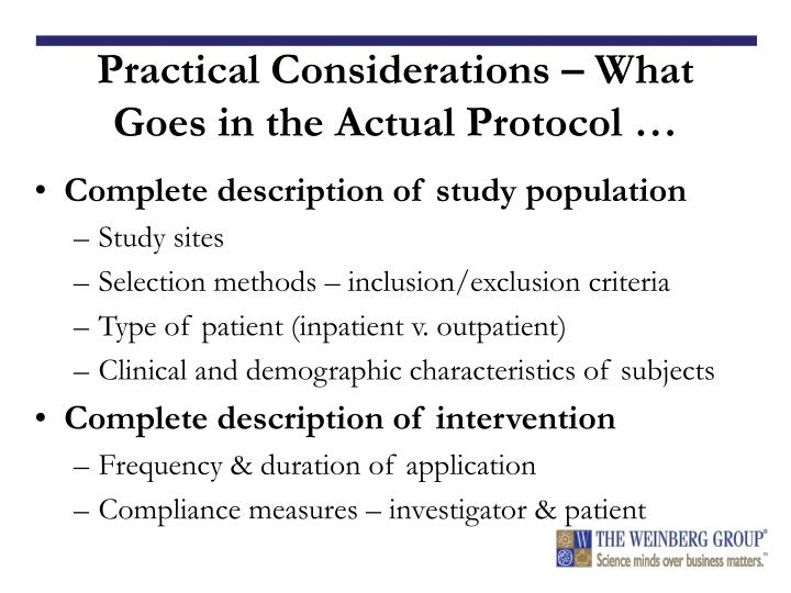 Practical Considerations – What Goes in the Actual Protocol …