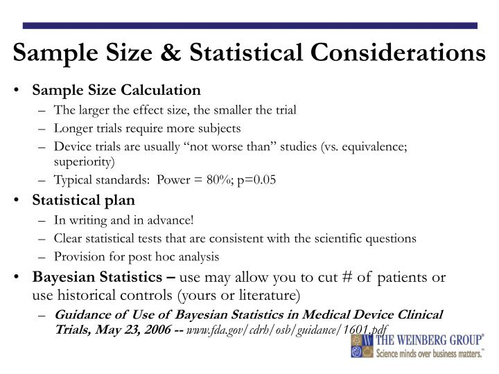 Sample Size & Statistical Considerations