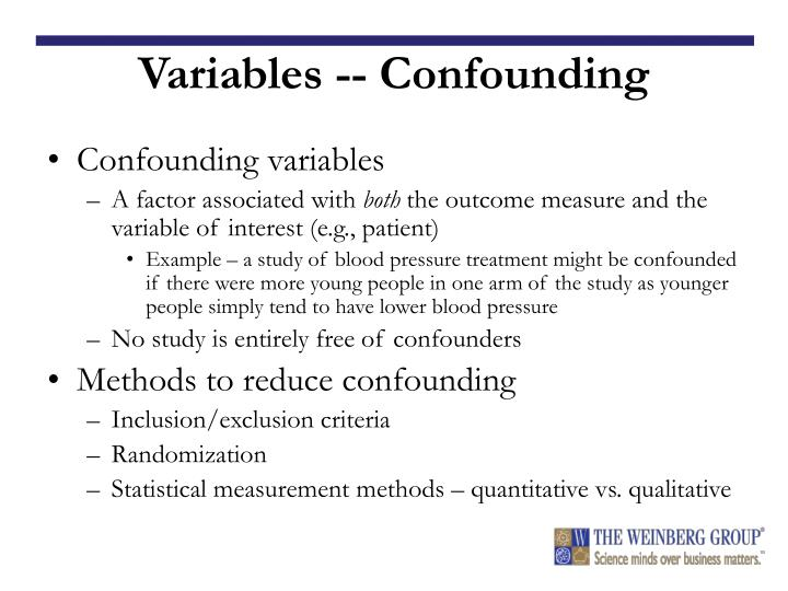 Variables -- Confounding