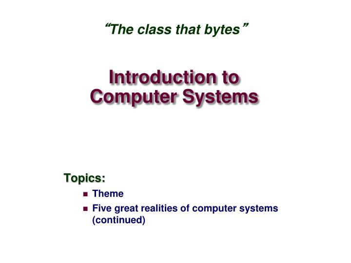 introduction to computer systems n.