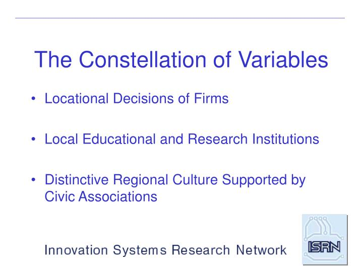 The Constellation of Variables