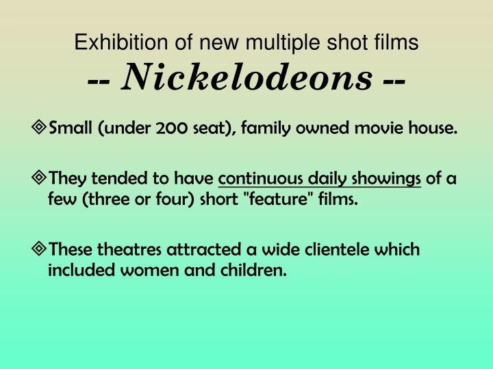 Exhibition of new multiple shot films
