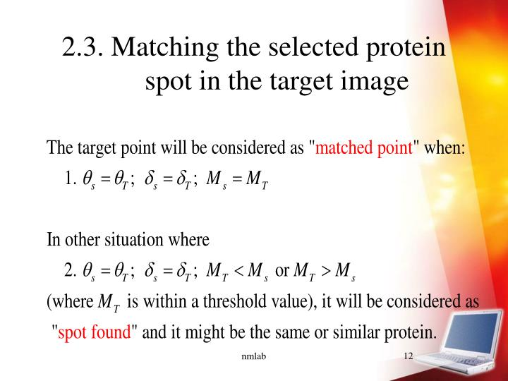 2.3. Matching the selected protein spot in the target image