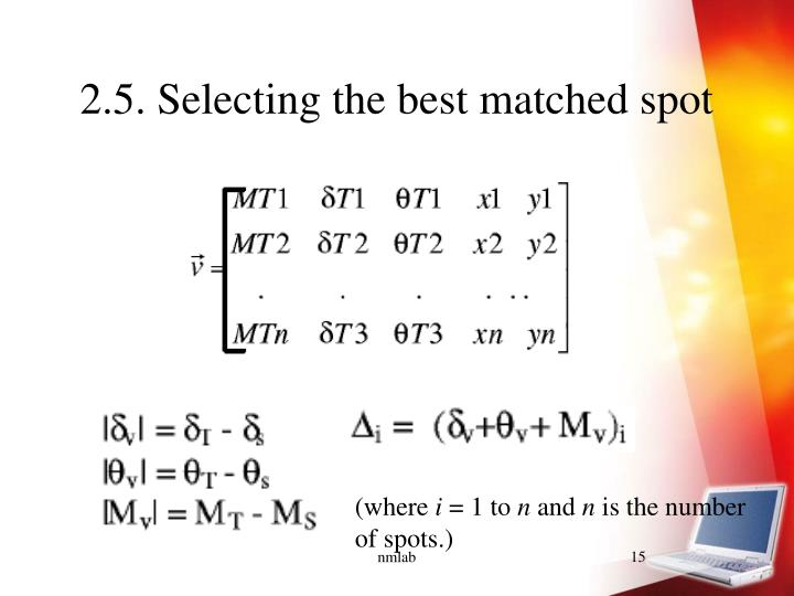 2.5. Selecting the best matched spot