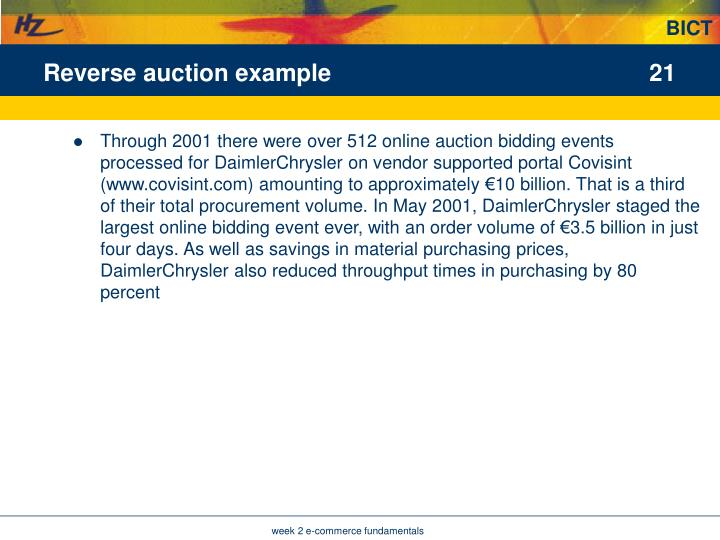 Reverse auction example