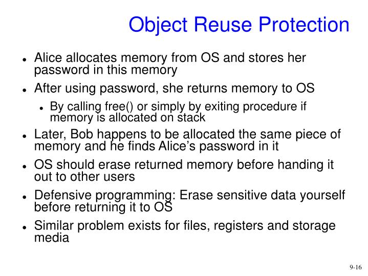 Object Reuse Protection