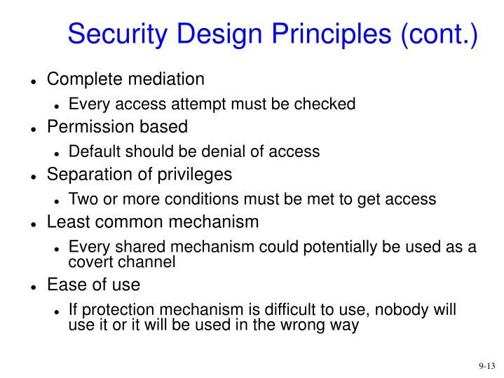 Security Design Principles (cont.)
