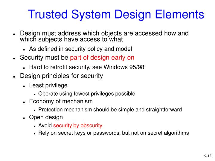 Trusted System Design Elements