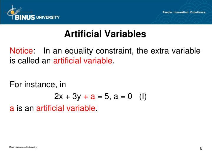 Artificial Variables