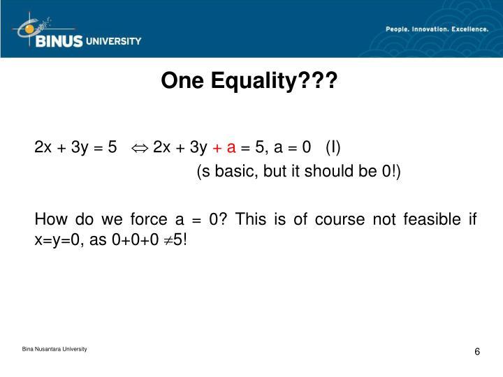 One Equality???