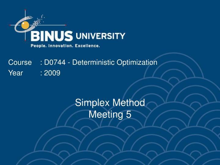 Simplex method meeting 5