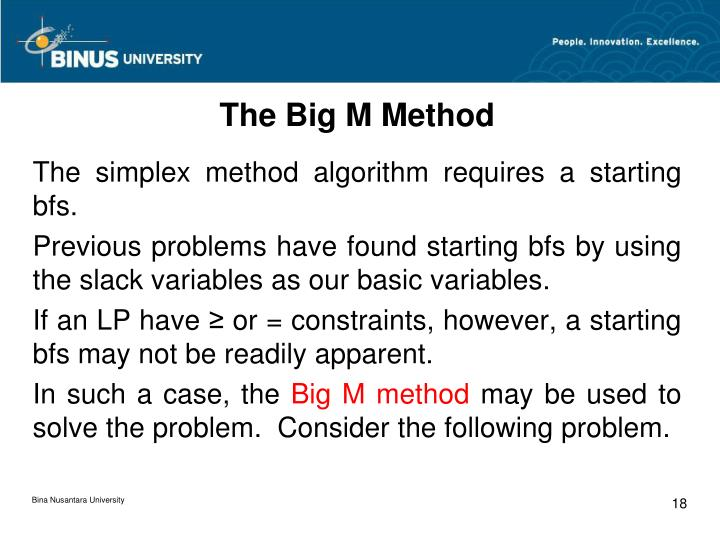 The Big M Method