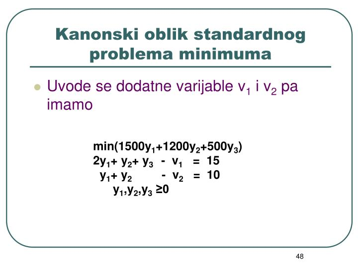 Kanonski oblik standardnog problema minimuma