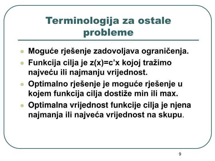 Terminologija za ostale probleme