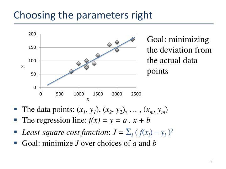 Choosing the parameters right