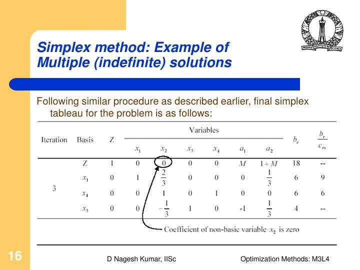 simplex solution method answer key Simplex method 1 the graphical method: an example consider the following linear is said to be a feasible solution if it satisfies all the to answer this.