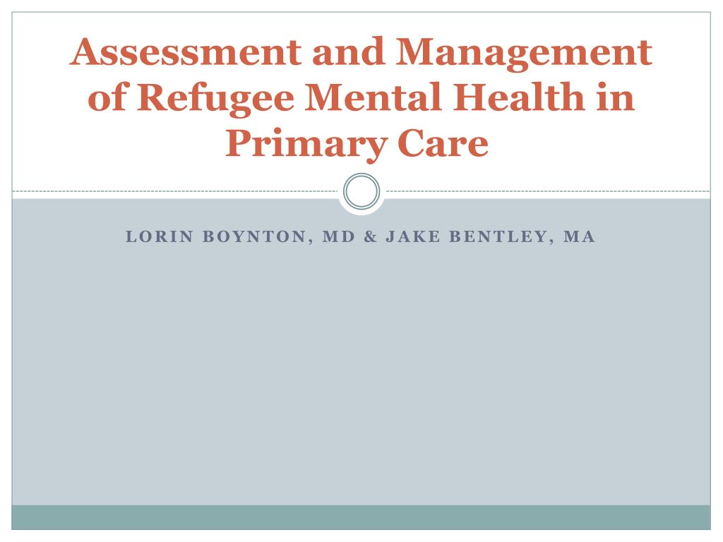 Ppt Assessment And Management Of Refugee Mental Health In Primary