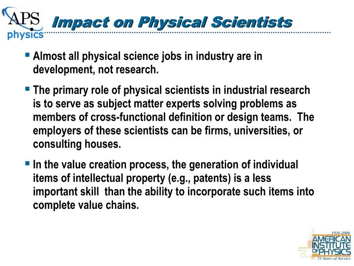 Impact on Physical Scientists