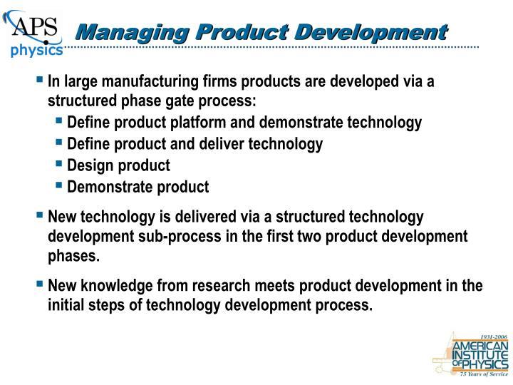 Managing Product Development