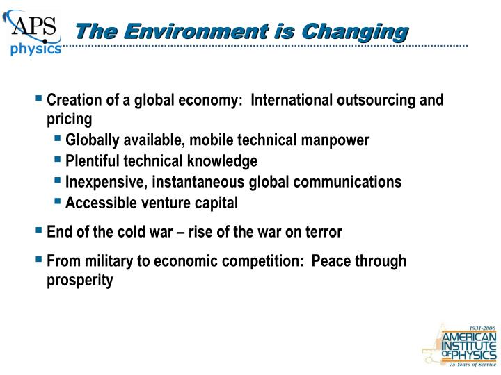 The Environment is Changing