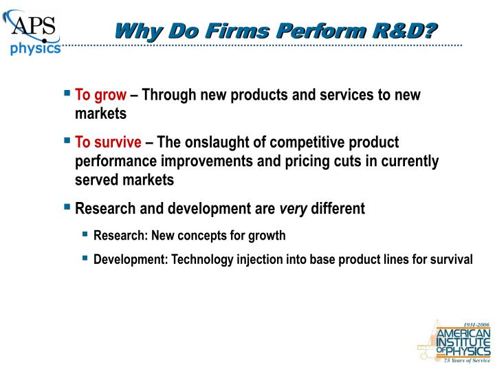 Why Do Firms Perform R&D?