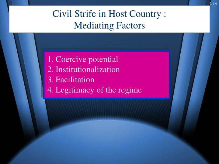 Civil Strife in Host Country :