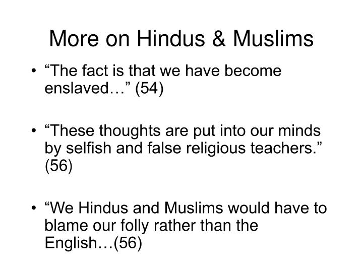 More on Hindus & Muslims