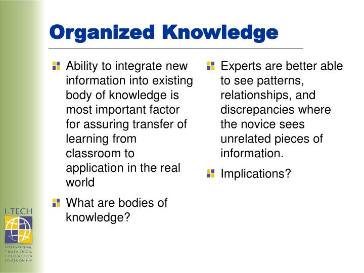 Ability to integrate new information into existing body of knowledge is most important factor for assuring transfer of learning from classroom to application in the real world