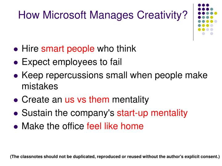 How Microsoft Manages Creativity?