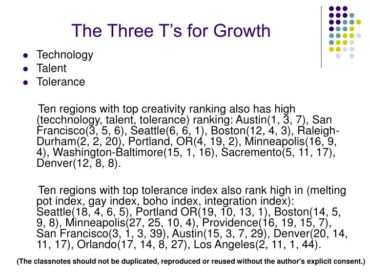 The Three T's for Growth
