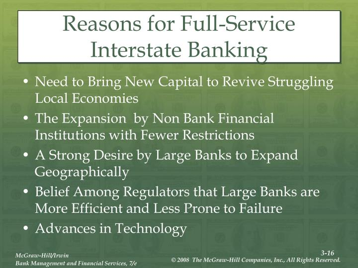 Reasons for Full-Service Interstate Banking