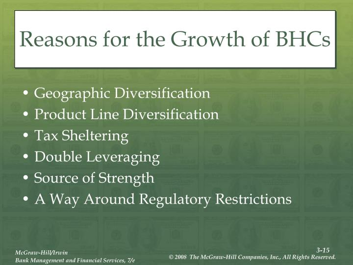 Reasons for the Growth of BHCs