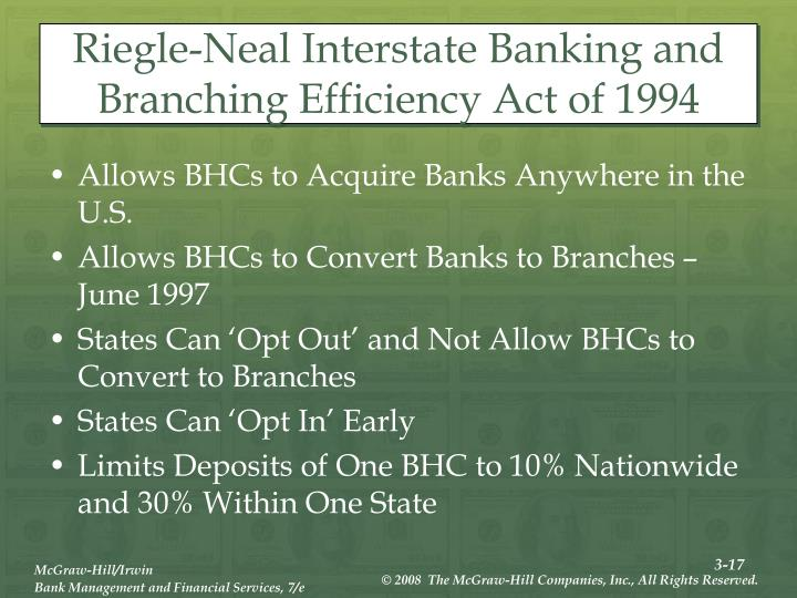 Riegle-Neal Interstate Banking and Branching Efficiency Act of 1994