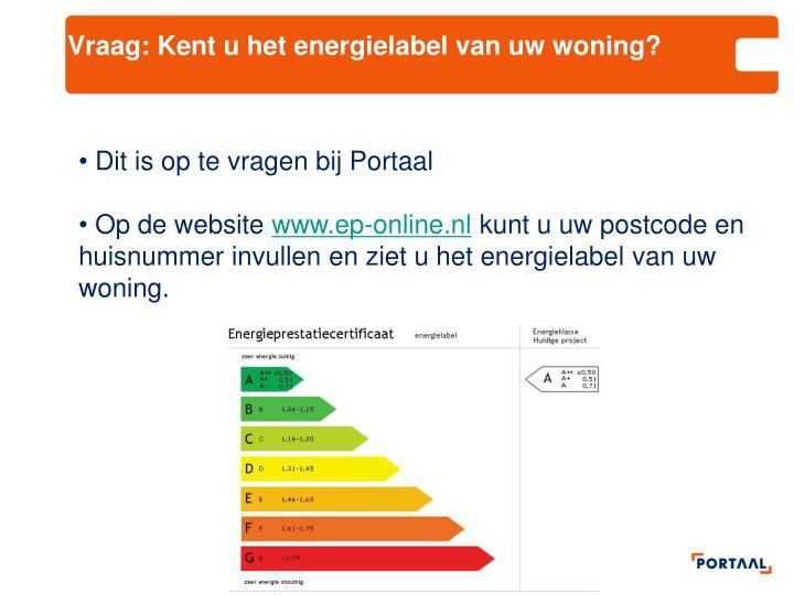 Vraag: Kent u het energielabel van uw woning?