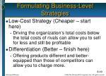 formulating business level strategies