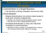 formulating corporate level strategies