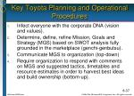 key toyota planning and operational procedures