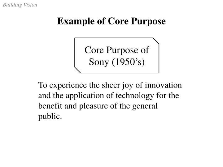 Example of Core Purpose