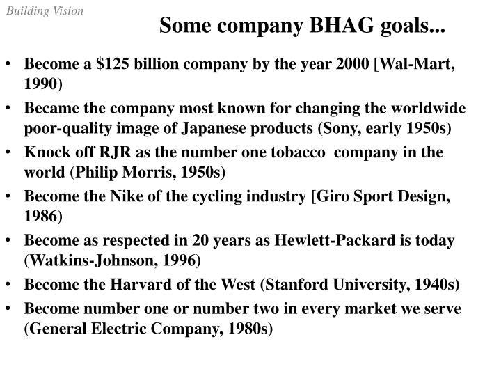 Some company BHAG goals...