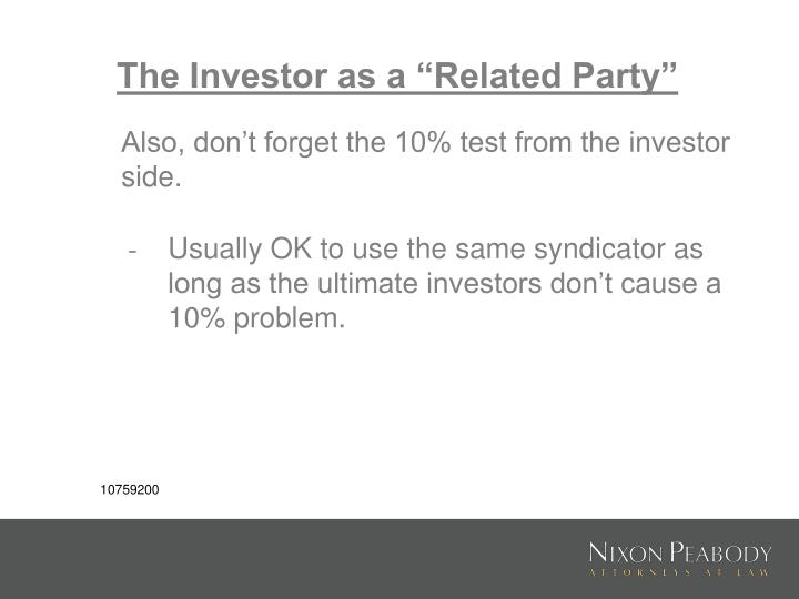 """The Investor as a """"Related Party"""""""