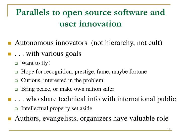 Parallels to open source software and user innovation