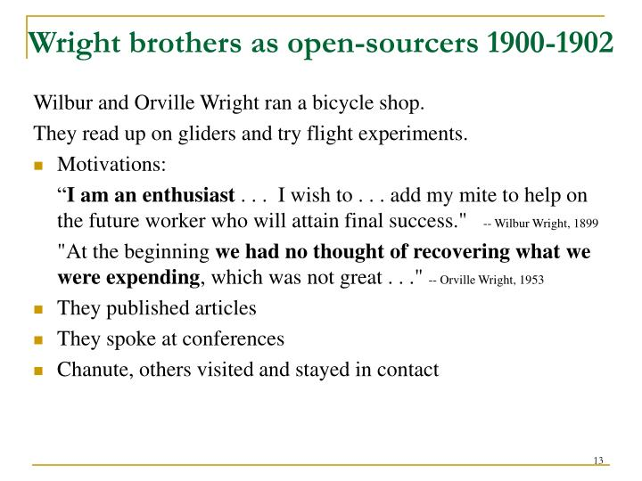 Wright brothers as open-sourcers 1900-1902