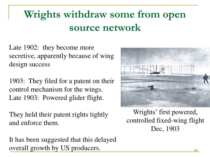 Wrights withdraw some from open source network