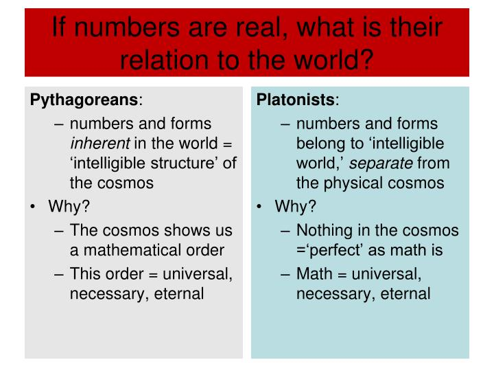 If numbers are real, what is their relation to the world?