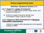 actions supported by grant