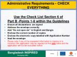 administrative requirements check everything