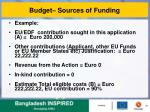 budget sources of funding